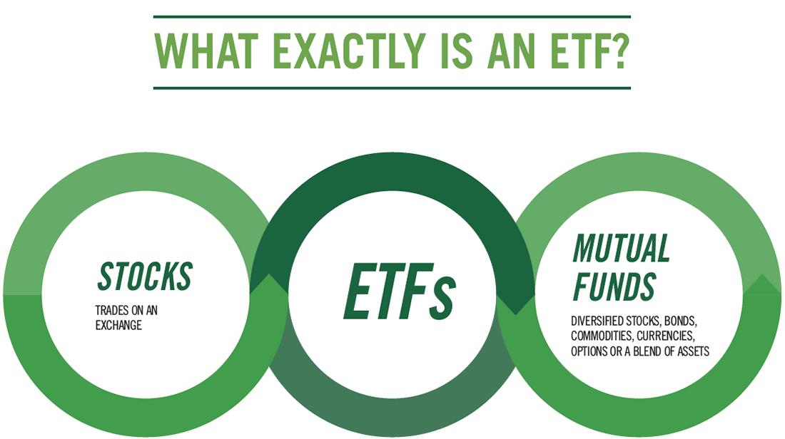 Image shows similarities. ETFs provide diversified stocks, bonds and other securities, can trade like stocks and can be passively or actively managed.
