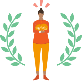 Illustration of a person being rewarded