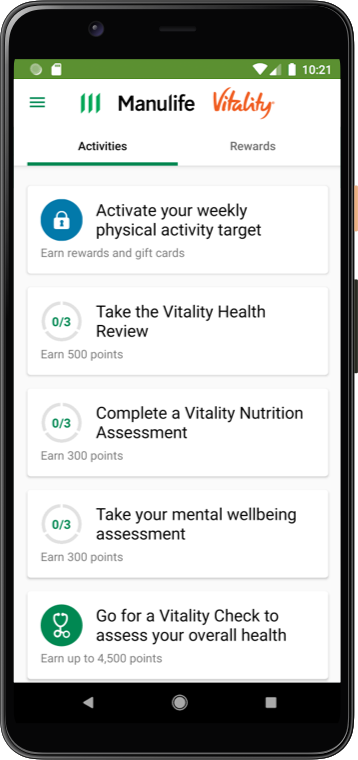 Phone screenshot of the Manulife Vitality for Group Benefits app on Android
