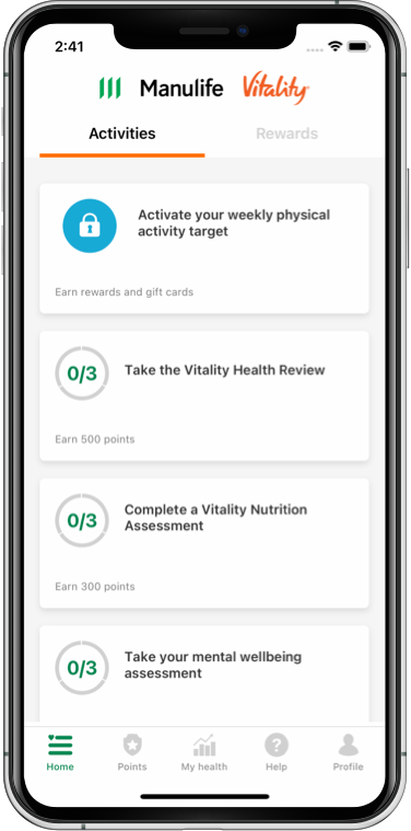 Phone screenshot of the Manulife Vitality for Group Benefits app on iOS