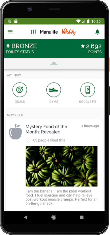 Phone screenshot of the Manulife Vitality app on Android